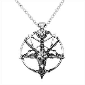 Jewelry - Baphomet Goat Pentagram Necklace - Silver